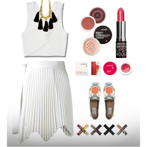 """""""Tassel-Chain Necklace"""" by dexsalon on PolyvoreAll white for summer with a statement Tassel necklace from Dex Salon , listening to the xx while wearing our fav cosmetic brand Korres"""