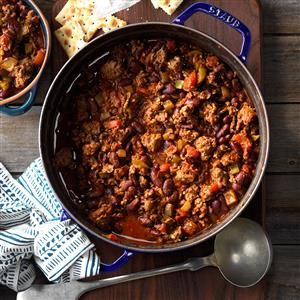Firehouse Chili Recipe -As one of the cooks at the firehouse, I used to prepare meals for 10 men. This chili was among their favorites.—Richard Clements, San Dimas, California