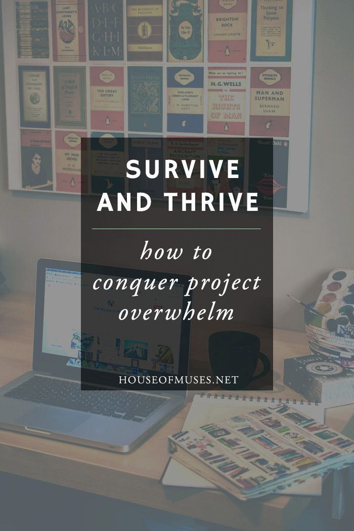 Survive and Thrive: How to conquer project overwhelm from The House of Muses. Feeling swamped with your latest blog or business project? Can't seem to keep your head above the water? Click through to find out how to make small biz survival a little bit easier.