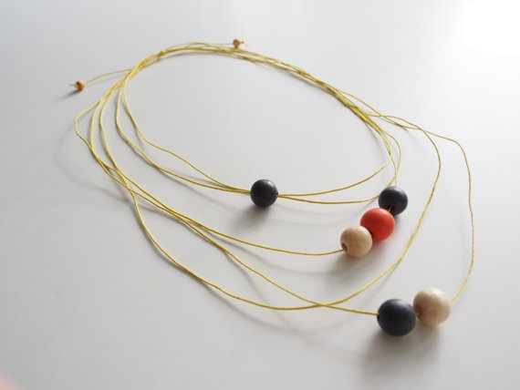 Yellow string necklace with coloured timber by objectsbybrooke, $30.00