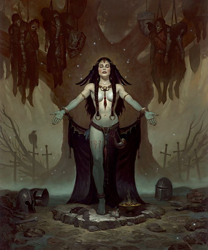 Morgan Le Fey by Brom , in Kirk Dilbeck's Elric, Conan, Lord of the Rings, A Game of Thrones, Thieves World, Red Sonja, and friends Comic Art Gallery Room - 345556