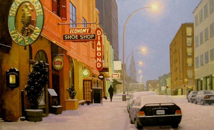 "Light Snow on Argyle Street, 6.25"" H x 10"" W, Offset Print by Paul Hannon, FREE SHIPPING Canada & US. $20.00, via Etsy."