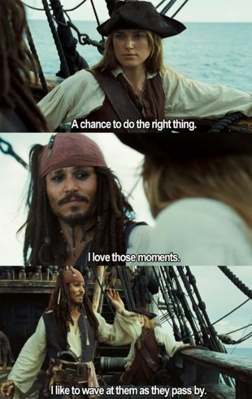 It's Captain Jack!!!!!!!!!!!!!!!!!! (Played by my favourite actor Johnny Depp!)  Captain Jack Sparrow is also my favourite film character EVER!!!!!!