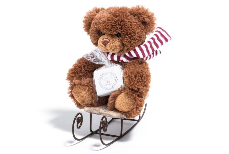 Dashing through the snow! Small Haigh's Chocolates Teddy on sleigh with four chocolate squares. #cute #cuddly #chocolate #Christmas #haighsonline