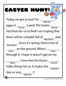 Our printable mad libs get hundreds (sometimes thousands!) of downloads every day. So I'm always happy to add more to our collection! Teachers love them because it's a printable game that really does have a good educational impact on students. Plus, kids love them!  Here is a brand new set of Easter mad libs for kids!