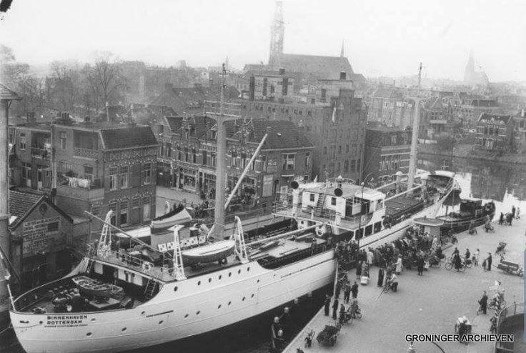 Oosterpoort, Veemarktstraat, Bonte Brug, MSC Binnenhaven zit vast, ca. 1955
