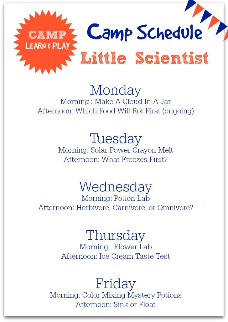 Camp Learn Play Little Scientist Week Science Activities