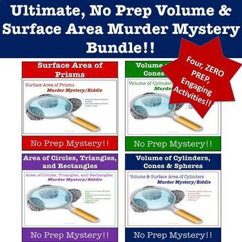 This 4-pack Volume & Surface Area bundle is a fun, engaging way for students to practice their volume and surface area skills. Students will solve murder mystery riddles by solving volume, surface area, and area of base problems. No prep work required!!