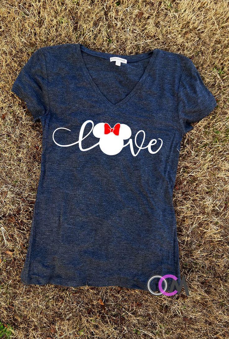 Love Disney Shirt, Family Disney Shirts, Mickey Minnie Shirts, Mickey T-shirt, Minnie T-Shirt, Family Shirts by 1OneCraftyMomma on Etsy https://www.etsy.com/listing/492455624/love-disney-shirt-family-disney-shirts