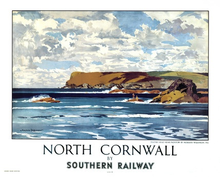 Southern Railway poster for North Cornwall. Sadly there are no longer any trains running to North Cornwall