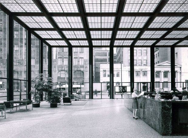 TD Centre banking hall by Mies van der Rohe. [approx. 1967, Toronto]    (photo via: B+H Architects)