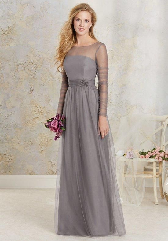 Alfred Angelo gown with illusion neckline, ruched sleeves, keyhole back, and floral embellishment I Style: 8622L I https://www.theknot.com/fashion/8622l-modern-vintage-bridesmaids-bridesmaid-dress?utm_source=pinterest.com&utm_medium=social&utm_content=june2016&utm_campaign=beauty-fashion&utm_simplereach=?sr_share=pinterest