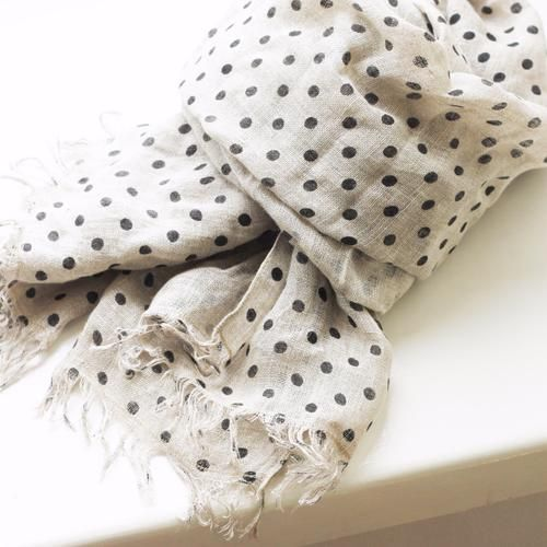 LINEN SCARF by Tikau (Black Dots)