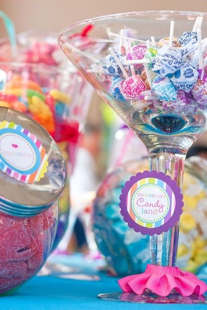 DECORATIONS For the kids, we'll fill martini glasses with candy :)