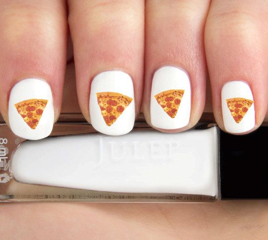 Realistic Pizza Junk Food Nail Decals24 ct. by babemade on Etsy, $6.00