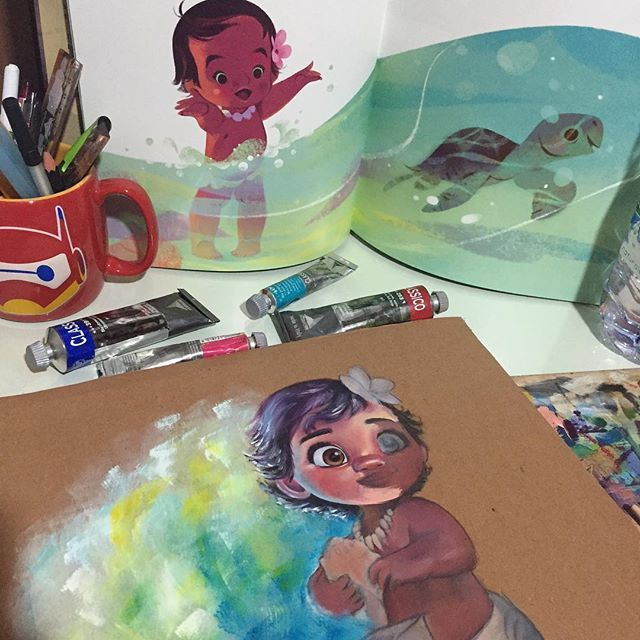 This commission is proving way more challenging than I thought.... I'm loving it!! Also forever in love with Annette Marnat's illustrations #illustration #moana #disney #oceania #vaiana