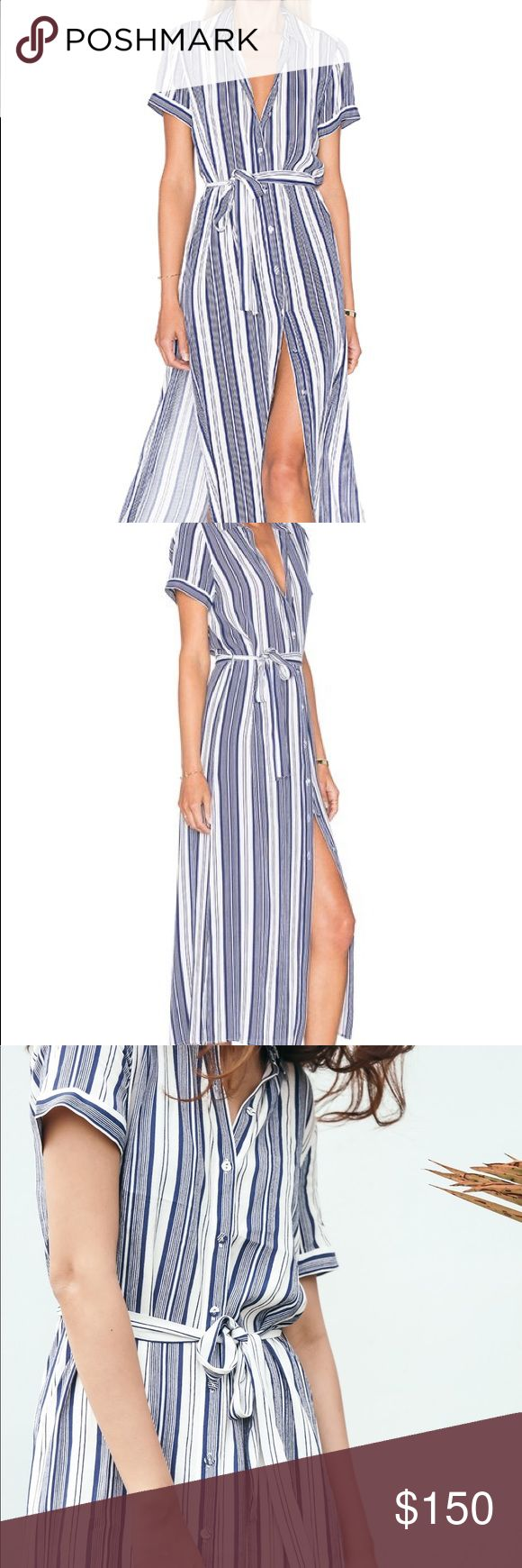 L'academie Maxi Shirt Dress Striped sailor maxi dress that does double duty as an eye-catching extra-long top over shorts. Hidden front button closure Cuffed short sleeves Tie waist Side seam slits Viscose blend Dry clean only.  True to size. XS=0-2, S=4-6, M=8-10, L=12-14. L'academie Dresses Maxi