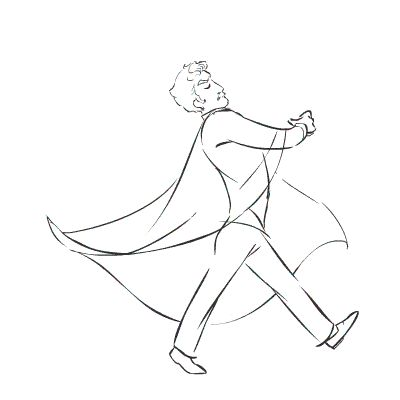sarapocock:  This is going somewhere, I promise.  In the meantime here's finished pencil animation for a very jaunty Paul F. Tompkins-version Andrew Lloyd Webber.  That cape was SO FUN to animate.  Animation catnip. Hey, I hear ALW is going to be on TV this week!  I absolutely will have a color version of everyone's favorite Lord/orphan duo up before then.  (I know I said I'd finish by this past weekend, but this is time-consuming work and animators get busy sometimes!)  Sara is terrifically…