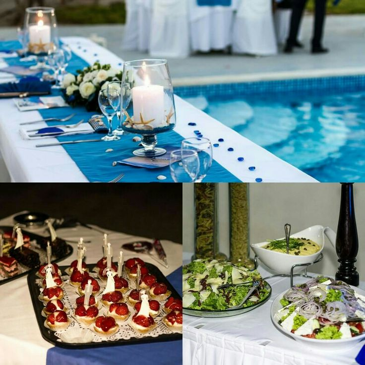 Spicy Bites prepared one more #delicious #weddingdinner ! We offer our guests a #traditional , #greekmenu which included #greeksalads and other #mediterranean #recipes . Yummy #sweets for the end of the night, #tarts and small #chocolate #cakes . #Catering #santoriniisland #santorini #events