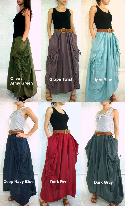 Lagenlook Hot Maxi Skirt Unique Long Skirt Big Pockets Summer Maxi Skirt - SK001. $46,00, via Etsy.