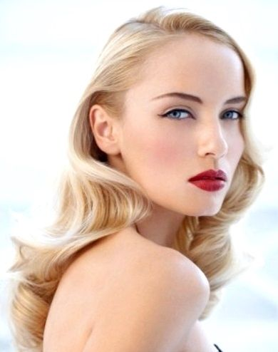 Bride's classic Veronica Lake old Hollywood glamour style wedding hairstyle