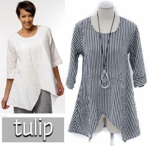 TULIP-CV735-Seersucker-Cotton-PIPPA-TUNIC-Asym-Top-XS-S-M-L-XL-BEACH-STRIPE