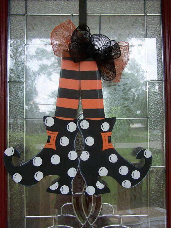 Witches shoes Halloween door hanger original design by  Shirley's Treasures