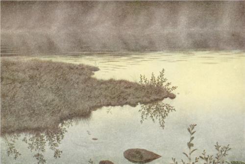 Blege taager vandrer over vandet - Theodor Kittelsen, 1900
