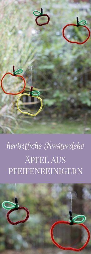 Geschenkanhänger oder Herbst-Fensterdeko: Äpfel aus Pfeifenreiniger