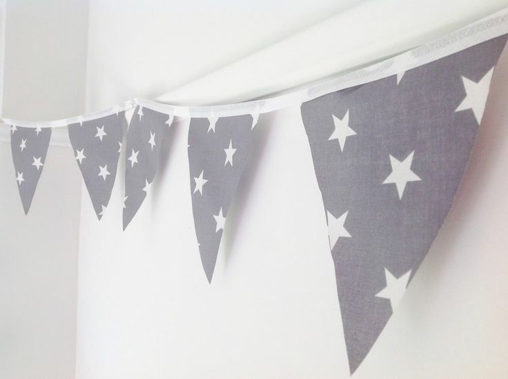 3 Metres Handmade Bunting - Grey With White Stars