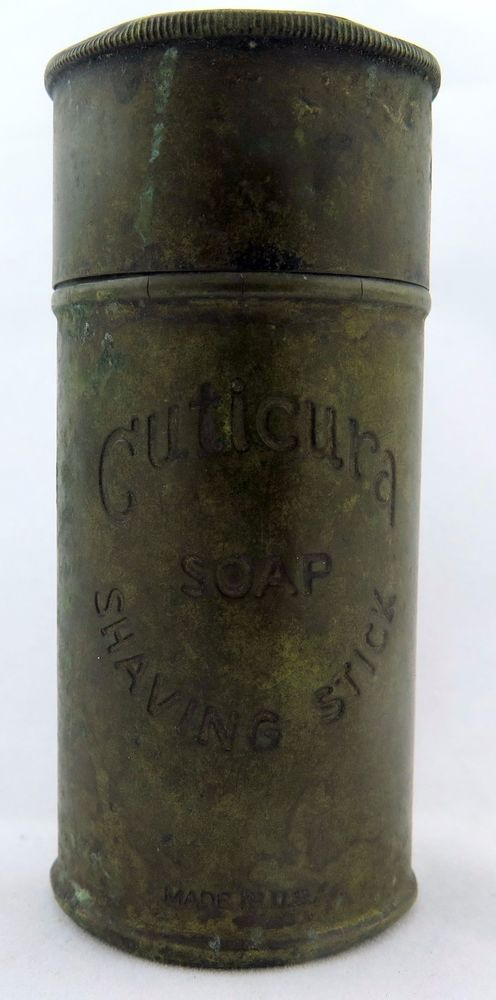 VINTAGE CUTICURA SHAVING STICK BRUSH HOLDER CONTAINER MADE IN U.S.A