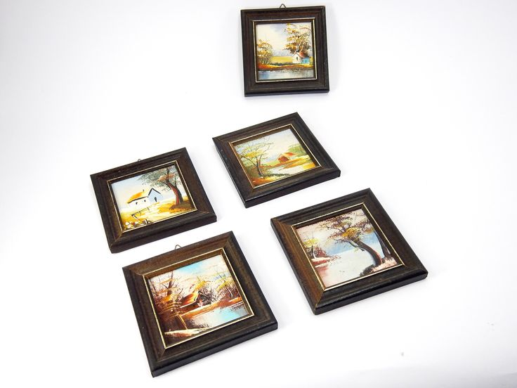 Excited to share the latest addition to my #etsy shop: Set of five small paintings, Wooden frames, vintage wooden frame, Retro decoration, landscape, oil colours, oil colours painting, paintings