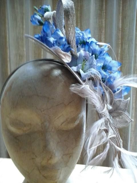 stunning delphinium floral fascinator https://www.etsy.com/uk/shop/Rosadior?ref=hdrwww.rosadior.co.uk  www.etsy.com #bridalhair #weddinghair #flowercrowns #fascinators #roses #vintagehair #vintage #retro #vintagelife #boho #hairaccessories #birdcageveil
