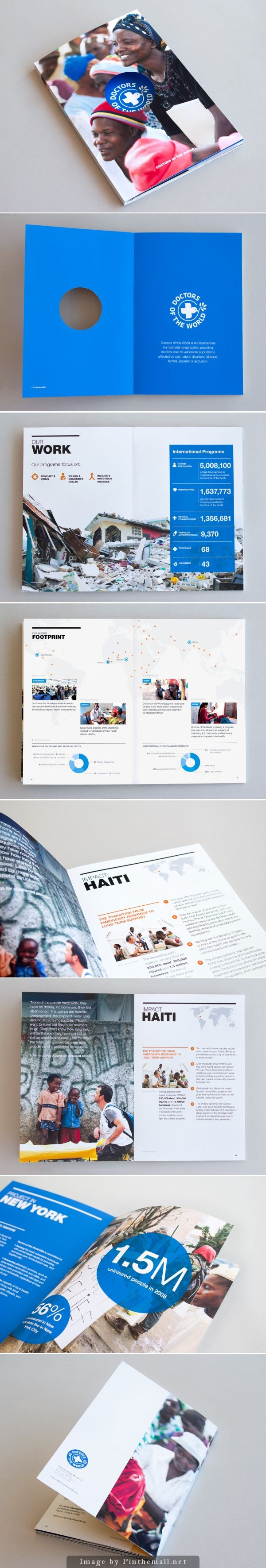Doctors of the World. This book/pamphlet has beautiful layouts and infographics that clearly portray the work and goals of a non-profit. #bookdesign #layout @infographic