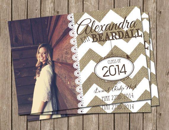 Rustic Graduation Announcement,cheveron, burlap, lace, Digital file, Printable on Etsy, $15.00