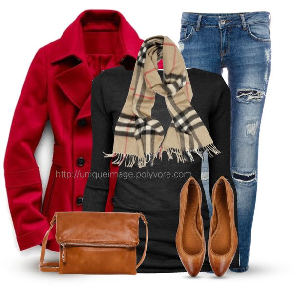 I've got a red wool coat, a black sweater, and a matching Coach purse. And of course I have tons of scarves. Woot!