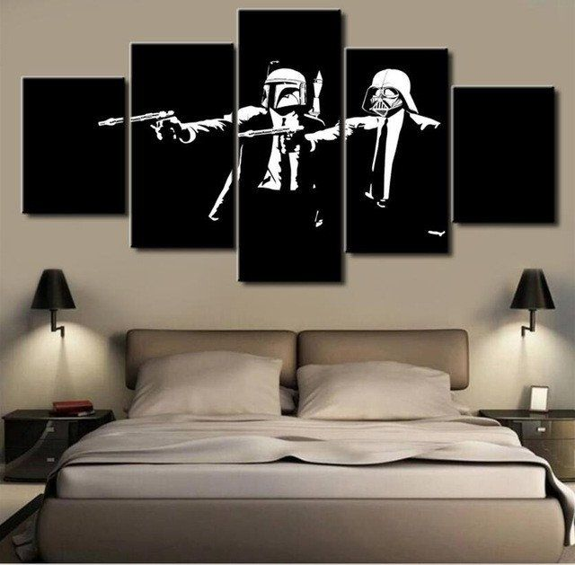 Star Wars Pulp Fiction, 5 Panel Framed Canvas Wall Art