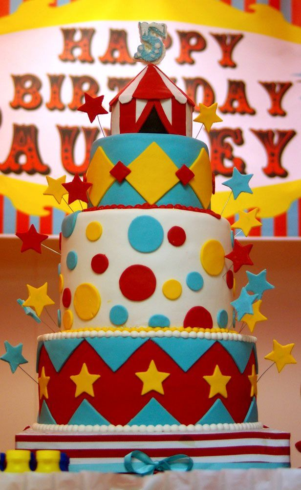 Carnival Theme Cake - This was made during my birthday for my niece's 5th birthday party. She loved it. All fondant, gumpaste, wires and cake,