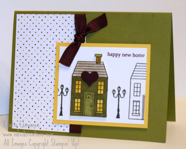 Happy New Home card using the Holiday Home Photopolymer stamp set. Card details found on www.inkedcreations.com