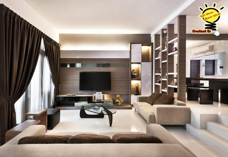 No walls between the rooms: just open spaces with shelves in between to separate the spaces. Gorgeous.