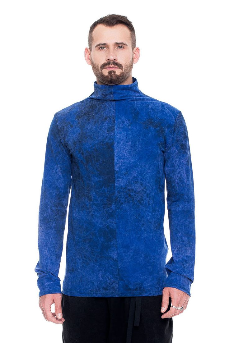 T-shirt with collar, blue acid wash    #mariashi #fashion #russiandesigners #nofilter #outfit #outfitoftheday #outfits #outfitpost #clothes #fashionista #fashiondesigner #shopping