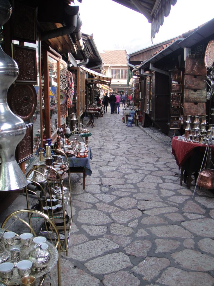 Street market in Sarajevo, Bosnia and Herzegovina. The city was officially founded in 1461 by the Ottomans, who ruled the city for around 400 years. Today, their lasting legacy is the neighborhood known as Baščaršija. Here you'll find narrow alleyway after narrow alleyway of shops and stalls. (V)
