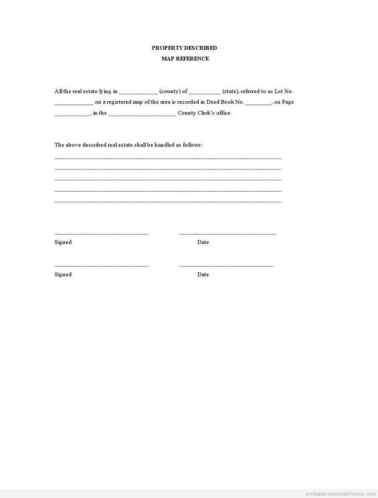 Sample Printable property described map reference Form ...