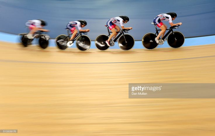 The Great Britain team compete in the Womens Team Pursuit qualifying round during Day Two of the UCI Track Cycling World Championships at Lee Valley Velopark Velodrome on March 3, 2016 in London, England.