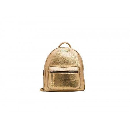 Golden Leather Backpack