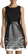 Laundry by Shelli Segal-laundry by shelli segal colorblock lasercut fauxleather dress blackwhite