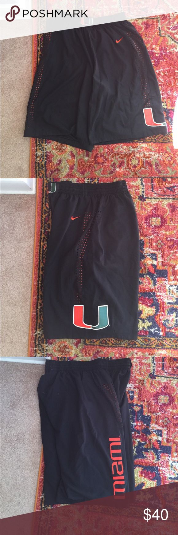Nike Men's XL University of Miami Hurricanes short Excellent condition! Barely worn. Mens xl Nike University of Miami basketball shorts. These are the same model that are worn in games. All letters and logos are stitched. Nike Shorts Athletic
