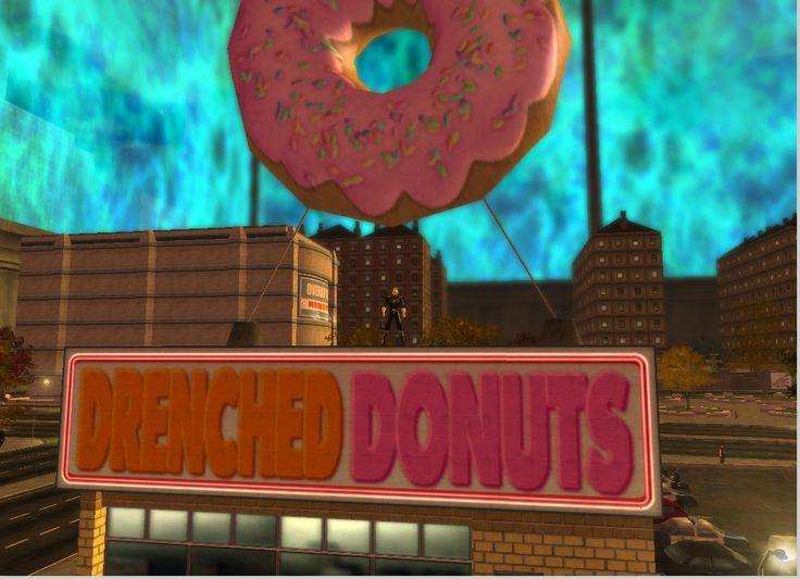 Rocket on the donut shop in Faultline. The giant donut has appeared on many donut shops, from real ones like Dunkin' Donuts (hmm...) to the shop that Homer Simpson loves, to the one in Steven Universe and one in Zootopia -- well it was giant relative to the mice!