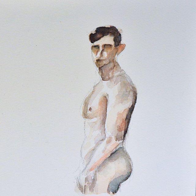 man painting , watercolor art