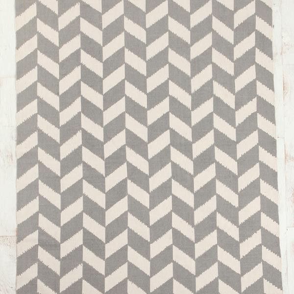 Grey herringbone cotton rug PREORDER FOR END OF MAY